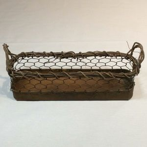 Small Rectangular Chicken Wire and Tin Basket